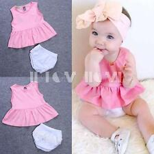 Girl Kid Toddler Sleeveless Top Dress Skirt+Pants Baby Lace Bottom Cotton Outfit