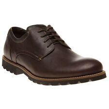 New Mens Rockport Brown Colben Leather Shoes Lace Up