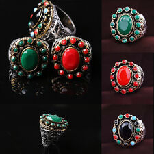 New Bohemian Vintage Finger Rings Retro Resin Carving Pattern Ring Jewelry