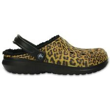 Crocs Classic Fuzz Lined Graphic Clogs - Black / Espresso - Croslite