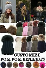 LADIES WARM KNITTED SKI WINTER BEANIE CAPS FAUX FUR CUSTOMIZABLE POM POM HAT
