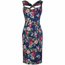 Vintage Navy Blue Floral Pencil Sexy Hollywood Glamour 20's 40's Cocktail Dress