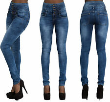 Womens Ladies High Waisted Blue Skinny Fit Jeans Stretch Sexy Denim Size UK 6-16