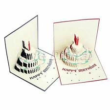3D Pop Up Happy Birthday Handmade Birthday Cake Greeting Card Thank You Postcard