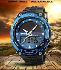 LED Date  Waterproof Solar Powered Sports Men Military Quartz Wrist Watch