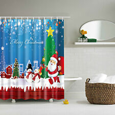 CHRISTMAS THEME Waterproof Polyester Bathroom Shower Sheer Curtain Panel w/ Hook
