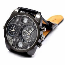 Fashion Men Stainless Steel Military Leather Band Dual Time Quartz Wrist Watch