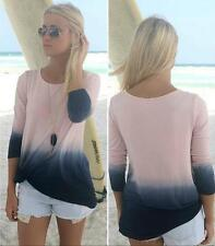 Fashion Round Collar Beautiful Blouse Patchwork Long Sleeve Top Gradient Color