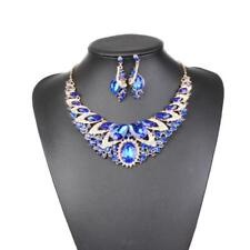 Luxury Wedding Bride Gemstone Statement Bib Necklace Earring Party Jewelry Set