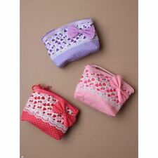 GIRLS SML HEART PRINT SPOTTY BOW PURSE Handbag Fabric Multi Fashion Accessory