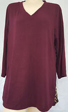 NEW SUSAN GRAVER Knit V-Neck Top with Chiffon Back and 3/4 Sleeves 269286