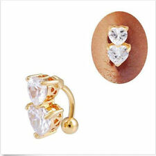 Zircon Reverse Double Love Body Jewelry Belly Ring Navel Nail Crystal Bar