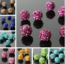 10Pcs Clay Czech New Disco Ball Spacer Beads Pave Round Crystal Rhinestones