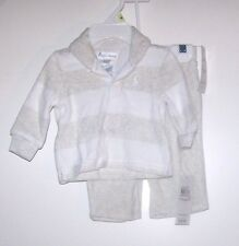 NWTS RALPH LAUREN POLO STRIPED VELOUR RUGBY/PANT SET GREY 3, 6 MONTHS WINTER