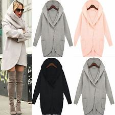 NEW Womens Oversized Casual Long Jacket Cocoon Coat Woolen Hooded Parkas Outwear