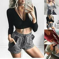 Sexy Women Deep V-Neck Cross Slim Crop Tops Long Sleeve T shirt Clubwear Blouse