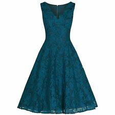 VINTAGE TEAL LACE EMBROIDERED ROCKABILLY SWING COCKTAIL PARTY PROM DRESS PLUS