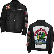 The Rolling Stones Dragon Patch Rock Music Band Mens Denim Coat Jacket RST2391