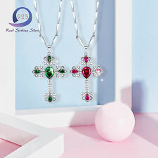 Chic Emerald&Ruby Cross Pendant 925 Sterling Sliver Necklace Chain Party Jewlery