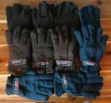 Lot of 10 Mens Fleece Winter Gloves Thermal Insulated Wrist Strap One Size