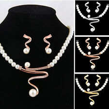 Women Fashion Jewelry Set Bridal Wedding Party Pearl Rhinestone Necklace Earring