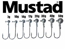 JIG HEADS ON 8/0 MUSTAD ULTRA POINT BIG GAME HOOKS. 3 PCS.7g-50g WEIGHT OPTIONS.