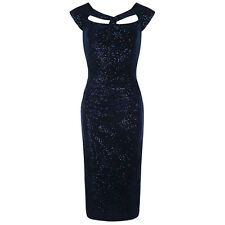 PRETTY KITTY Navy Velour Sequin Hollywood Wiggle Bodycon Pencil Cocktail Dress