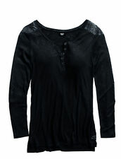Genuine Harley-Davidson Womens Quilted Accent Black Knit Top 96117-15VW