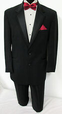 43R Black Perry Ellis Two Button Tuxedo With Pants Wedding Prom Cruise Mason 43R
