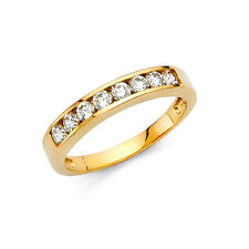 14k Solid Yellow Gold 0.75 Ct Round Cut Diamond Wedding Band Ring Channel Set