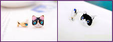 Gold or Silver Plated Tiny Cat Kitten & Fish Earrings Pair Studs in Gift Bag/Box