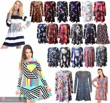 LADIES NEW LONG SLEEVE PAISLEY ABSTRACT FLORAL PRINT SWING DRESS UK 8-26