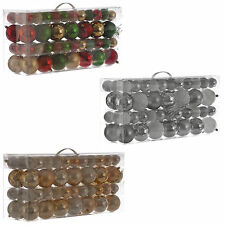 94 Assorted Christmas Glitter Metallic Baubles Tree Ornaments Decorations