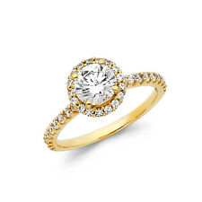 14k Solid Yellow Gold Round Cut Solitaire 1.50 Ct Diamond Halo Engagement Ring