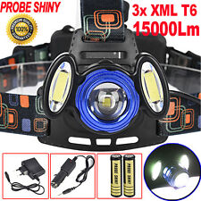 15000Lm 3x XML T6 LED Headlamp Rechargeable Headlight 18650 Head Torch Light LOT