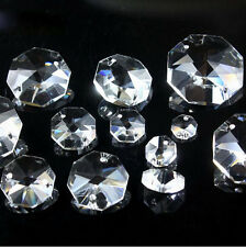 10mm-32mm 2 Hole Octagon Crystal Glass Bead Jewelry Chandelier Chain Part