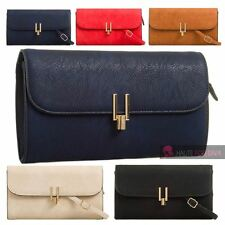 NEW FAUX LEATHER GOLDEN DETAIL CROSS-BODY STRAP EVENING CLUTCH SHOULDER BAG