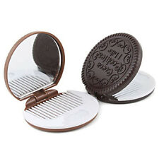 Mini Folding Pocket Chocolate Cookie Shaped Makeup Cosmetic Compact Mirror Cute