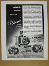 1959 Linhof Super Technika IV 4x5 Camera Carl Zeiss Lenses vintage print Ad