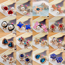 Elegant Fashion Women Girls Crystal Rhinestone Flower Ear Stud Earrings Jewelry
