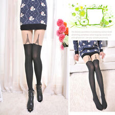 Lady Nylon 16 Styles Cat Tattoos Knee High Tights Pantyhose Over Knee Stockings