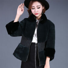 Fashion Genuine Rex Rabbit Fur Coat Jacket Warm Slim Waistcoat Outwear Clothing