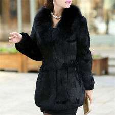 Elegant Rabbit Fur Coat Jacket with Fox Fur Collar Women Warm Waistcoat Outwear