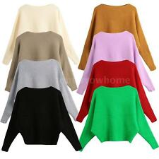 Women Casual Long Sleeve Knitted Top Loose Sweater Jumper Knitwear Pullover G7O2