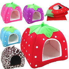 Hot Kennel Doggy Puppy Warm Soft Cushion Basket Pet Dog Cat Strawberry Bed House