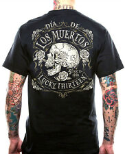 NEW LUCKY 13 DEAD SKULL T SHIRT AMERICAN ROCKABILLY PUNK BIKER MEN'S TOUGH WEAR