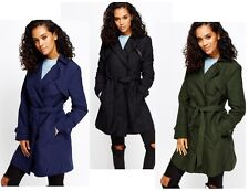 Ladies Double Breasted Trench Mac Coat Belted Fashion Jacket UK 8 10 12 14 16 18