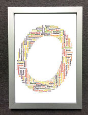 PERSONALISED WORD CLOUD ART - CHOICE OF SIZE & FRAMES - LETTER O