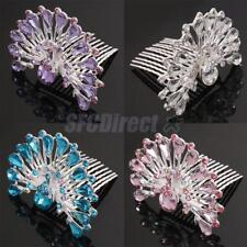 Crystal Rhinestone Sparkly Bridal Princess Peacock Hair Comb Tiara Party Wedding