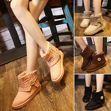 Women Suede Knit Ankle Snow Boots Wool Short Booties Winter Warm Fur Lined Shoes